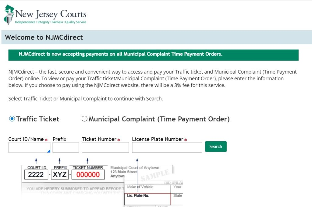 Steps to Pay New Jersey Traffic Ticket Online